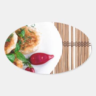 Meatballs fritados da galinha triturada com adesivo oval