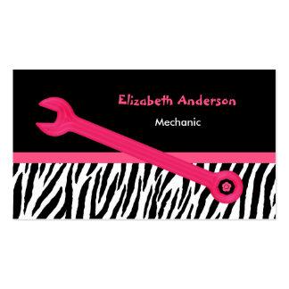 Mecânico automotriz feminino da zebra cor-de-rosa cartão de visita