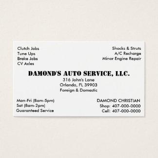 Mecânico da reparação de automóveis cartão de visitas