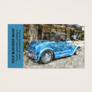 Mecânico de automóvel clássico azul automotriz do cartão de visitas