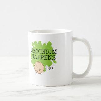 Meconium acontece caneca de café