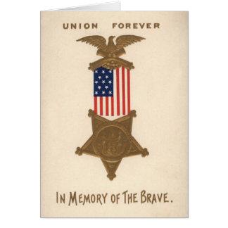Medalha Eagle da guerra civil da união da bandeira Cartão Comemorativo