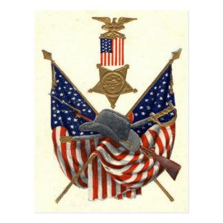 Medalha Eagle da guerra civil da união da bandeira Cartão Postal
