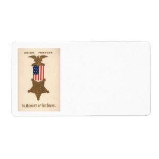 Medalha Eagle da guerra civil da união da bandeira Etiqueta De Frete
