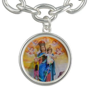 Medalha virgem bonita no bracelete do encanto