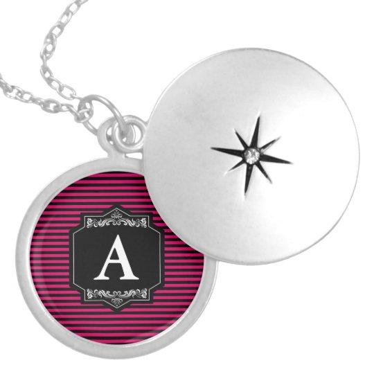 Medalhão Prata Redondo Listras Pink Monograma