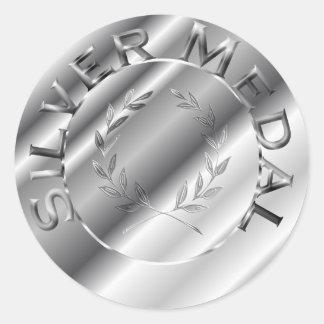 Medalhista de prata adesivo redondo