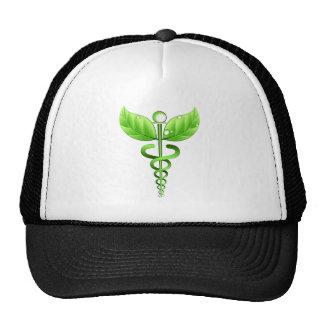 Medicina alternativa do símbolo médico verde do boné