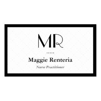 Médico da enfermeira - monograma à moda limpo cartão de visita