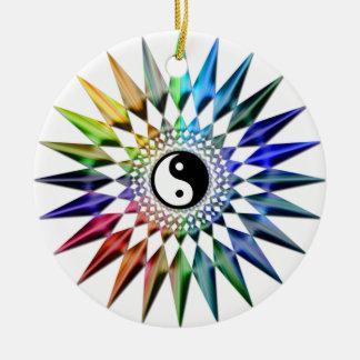 Meditação colorida Tao da ioga calma do zen de Yin Ornamento De Cerâmica