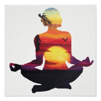 Meditação tropical da pose da ioga da praia do poster perfeito