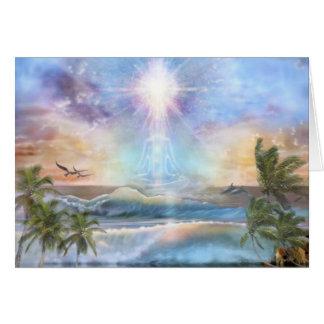 Meditator do nascer do sol do coco cartão