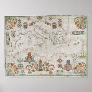 Mediterranean Sea Old Map Pôster