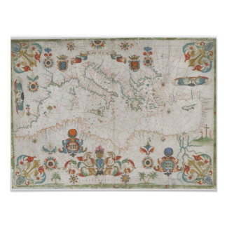 Mediterranean Sea Old Map Poster