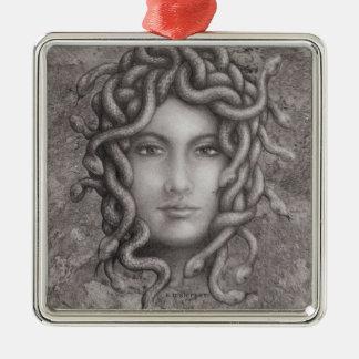 Medusa Ornamento Quadrado Cor Prata