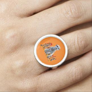 Meerkat e logotipo, anel redondo de prata