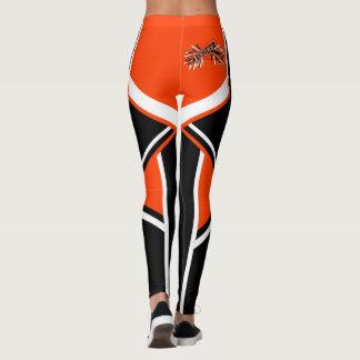 Megafone alaranjado, branco e preto do cheerleader leggings