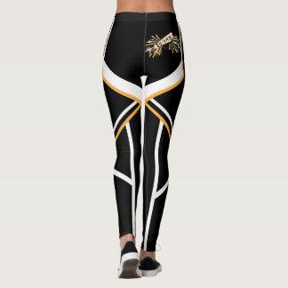 Megafone do ouro, o branco e o preto do leggings