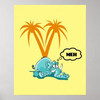 Meh. Desenhos animados azuis parvos do elefante Poster