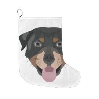 Meia De Natal Grande A ilustração persegue a cara Rottweiler