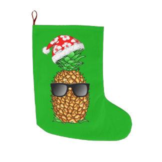 Meia De Natal Grande Abacaxi de Papai Noel