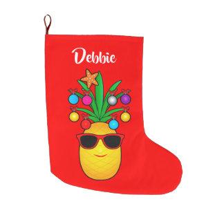 Meia De Natal Grande Abacaxi vestido para o nome dos feriados
