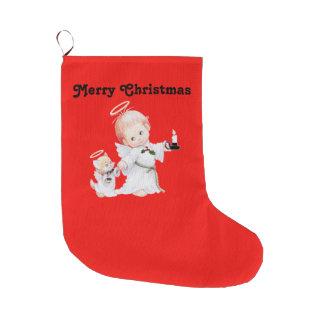 Meia De Natal Grande Anjo bonito e gato do bebê do Natal no vermelho