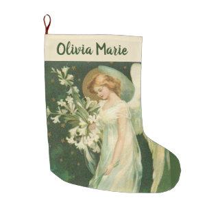 Meia De Natal Grande Anjo personalizado da menina com flores
