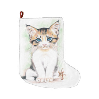 Meia De Natal Grande Arte bonito da aguarela do gato malhado