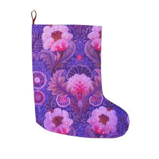 Meia De Natal Grande Arte floral roxa