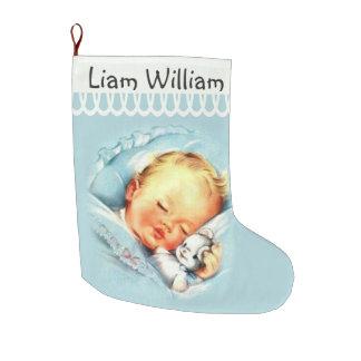 Meia De Natal Grande Bebê de sono personalizado frente e verso