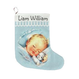 Meia De Natal Grande Bebê de sono personalizado no berço