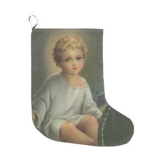 Meia De Natal Grande Bebê Jesus no comedoiro