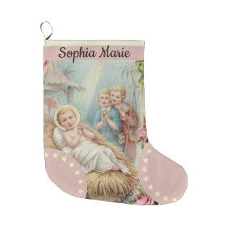 Meia De Natal Grande Bebê personalizado Jesus em meninas do comedoiro