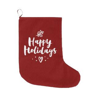 Meia De Natal Grande Boas festas visco e coração