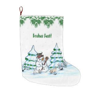 Meia De Natal Grande Boneco de neve com gato e filhote de cão em alemão