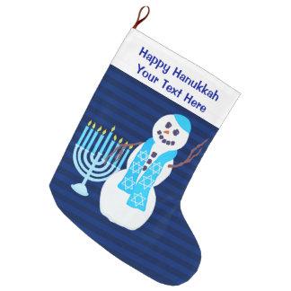 Meia De Natal Grande Boneco de neve judaico Menorah azul de Z Hanukkah