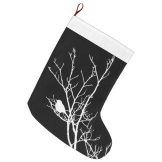 Meia De Natal Grande Branco na silhueta preta do pássaro -