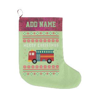 Meia De Natal Grande Camisola feia do Natal do carro de bombeiros