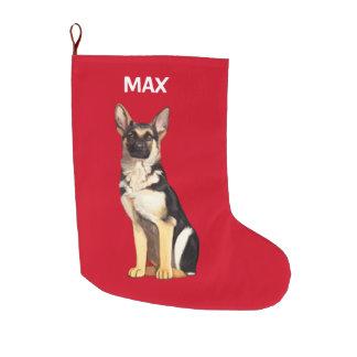 Meia De Natal Grande Cão de german shepherd no nome do Natal