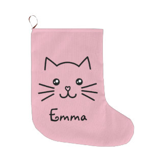 Meia De Natal Grande Cara bonito do gato do gatinho de Kawaii com o