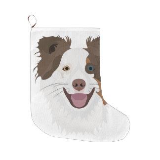 Meia De Natal Grande Cara feliz border collie dos cães da ilustração