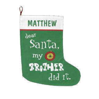Meia De Natal Grande Caro papai noel engraçado meu irmão esverdeou o