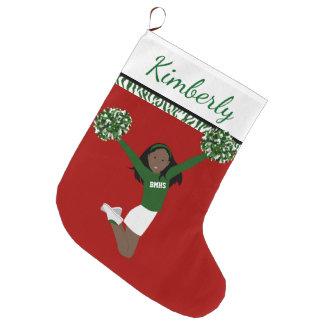 Meia De Natal Grande Cheerleader do afro-americano em verde e no branco
