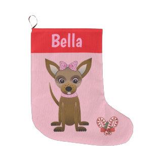 Meia De Natal Grande Chihuahua cor-de-rosa customizável