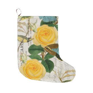 Meia De Natal Grande Chique dos rosas amarelos