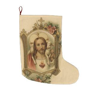 Meia De Natal Grande Coração sagrado de Jesus com cordeiro