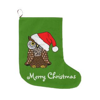 Meia De Natal Grande Coruja do chapéu do papai noel do Feliz Natal