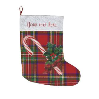 Meia De Natal Grande Costume real do bastão & do azevinho de doces da