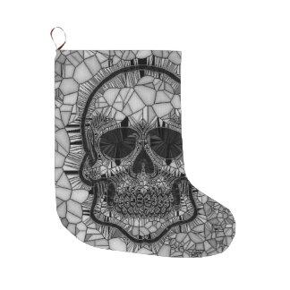 Meia De Natal Grande Crânio de vidro do mosaico, branco preto